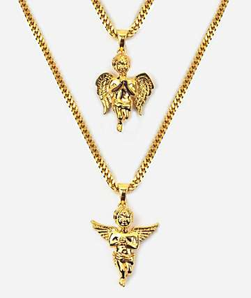 The Gold Gods Micro Angel Gold Necklace Layered Set