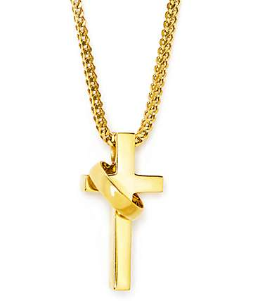 "The Gold Gods collar 28"" cruz y anillo"