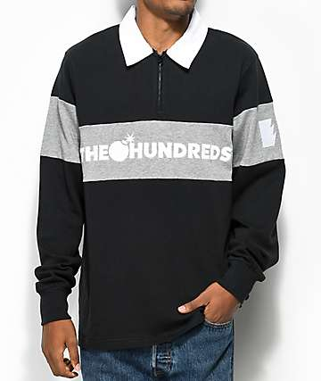 The Hundreds Alpine Black Long Sleeve Polo Shirt