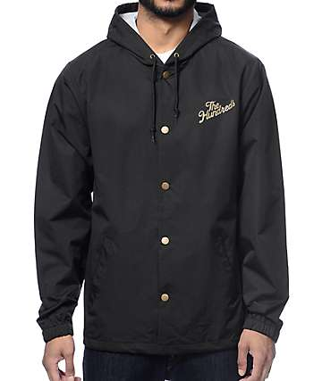 The Hundreds Forever Slant Black Hooded Coach Jacket