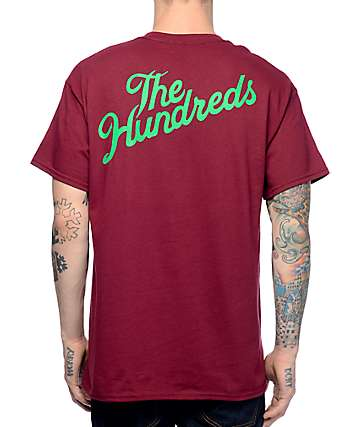 The Hundreds Slant Crest Burgundy Pocket T-Shirt