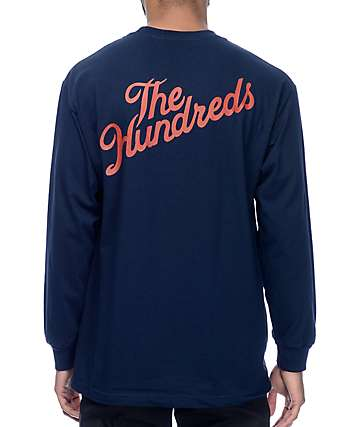 The Hundreds Slant Crest Navy Long Sleeve T-Shirt