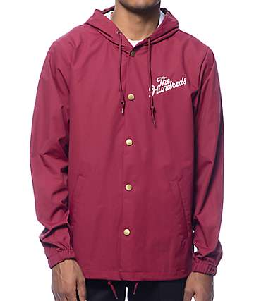 The Hundreds Slant Logo Burgundy Hooded Coach Jacket
