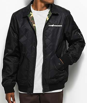 The Hundreds Tanner Black & Camo Reversible Bomber Jacket