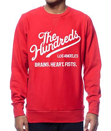 The Hundreds Tradition Red Crew Neck Sweatshirt