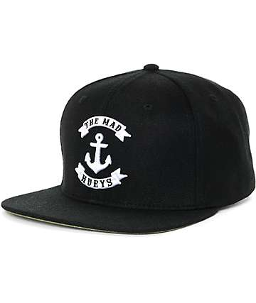 The Mad Hueys Raised Anchor Black Snapback Hat