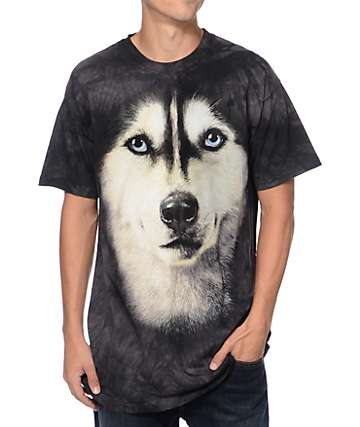 The Mountain Siberian Face Black Tie Dye T-Shirt
