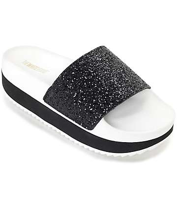 The White Brand Black Glitter Platform Slide Women's Sandals