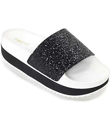 The White Brand Black Glitter Platform Slide Women's Sandals