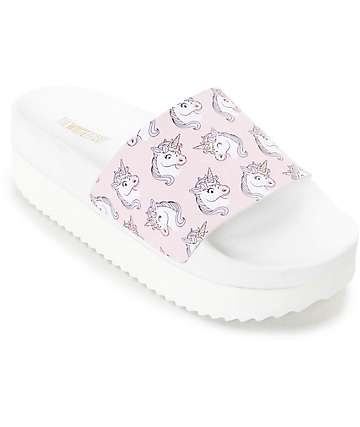 The White Brand Unicorn Platform Slide Women's Sandals