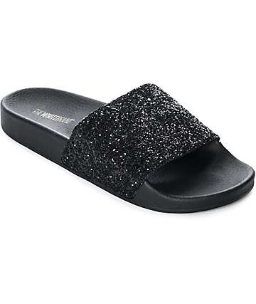 TheWhiteBrand Black Glitter Slide Women's Sandals