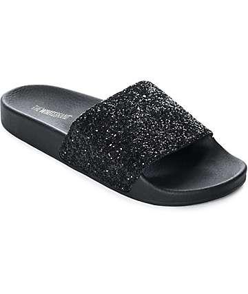 TheWhiteBrand Black Glitter Slide Women's Sandals