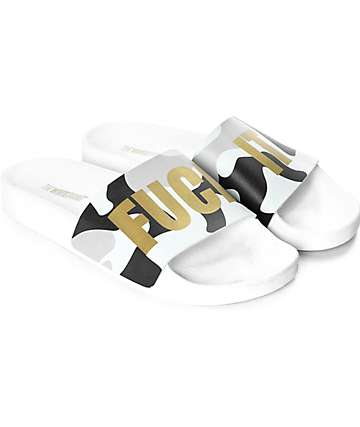TheWhiteBrand Fuck It Mint Camo Slide Sandals
