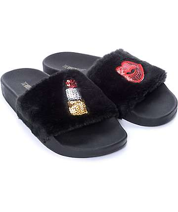 TheWhiteBrand Fur Black Slide Women's Sandals