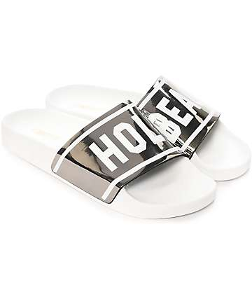 TheWhiteBrand Holy Beach White & Silver Slide Women's Sandals
