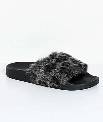 TheWhiteBrand sandalias de pelo de leopardo gris