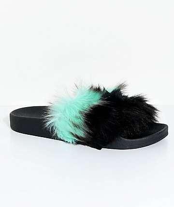 TheWhiteBrand sandalias de pelo en negro y color menta