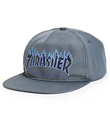 Thrasher Blue Flame Snapback Hat
