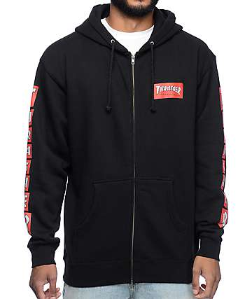 Thrasher Boxed Logo Black Zip Up Hoodie