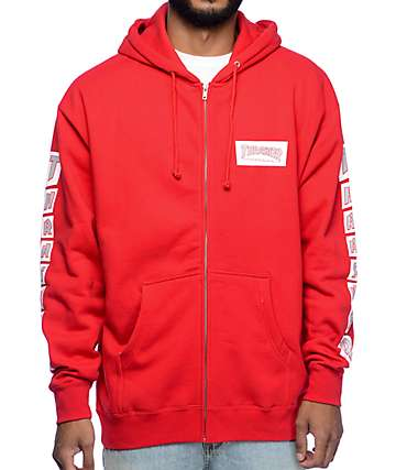 Thrasher Boxed Logo Red Zip Up Hoodie