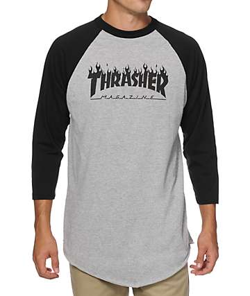 Thrasher Flame Baseball T-Shirt