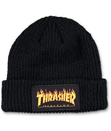 Thrasher Flame Logo gorro negro