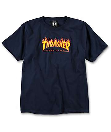 Thrasher Flame Youth Navy T-Shirt
