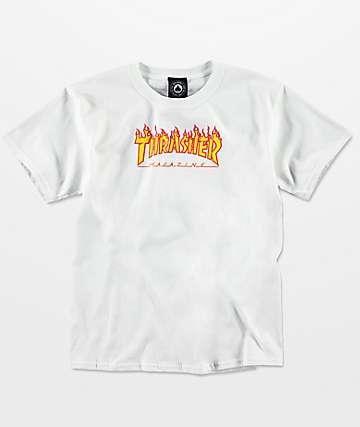 Thrasher Flame camiseta blanca para niños