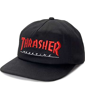 Thrasher Magazine Logo Black & Red Snapback Hat