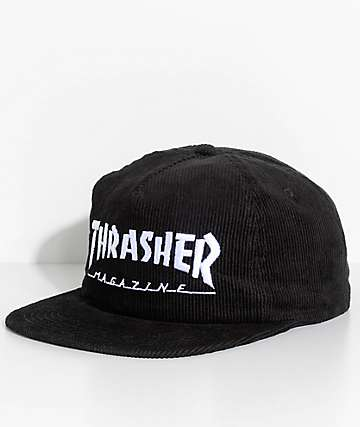 Thrasher Magazine Logo Black Corduroy Snapback Hat