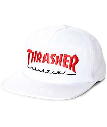 Thrasher Magazine Logo White & Red Snapback Hat