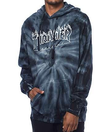 Thrasher Silver Flame Logo sudadera con capucha en teñido anudado gris