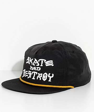 Thrasher Skate And Destroy Black Snapback Hat