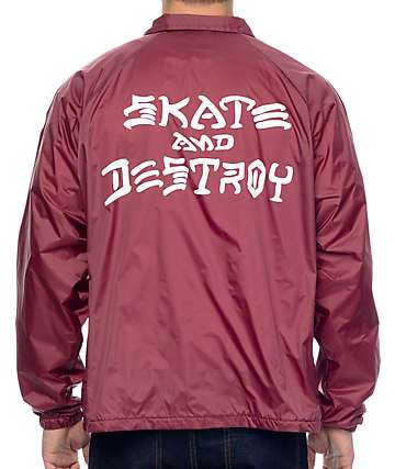 Thrasher Skate And Destroy Burgundy Coach Jacket
