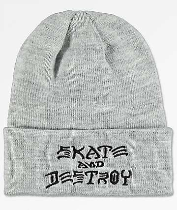 Thrasher Skate And Destroy Heather Grey Beanie