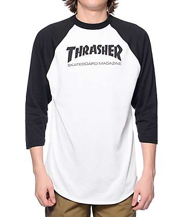 Thrasher Skate Mag White & Black Baseball T-Shirt