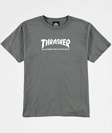Thrasher Skate Mag camiseta en color carbón para niños