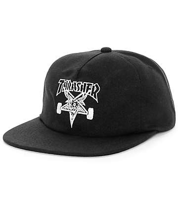 Thrasher Skategoat Black Wool Snapback Hat