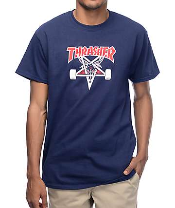 Thrasher Two Tone Skategoat Navy T-Shirt