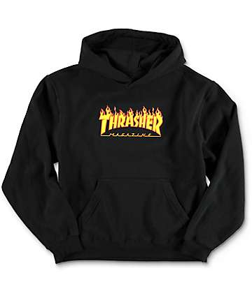 Thrasher Youth Flame Logo Black Hoodie