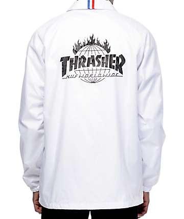 Thrasher x HUF TDS chaqueta de entrenador negra