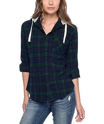 Thread & Supply Diana Green & Blue Hooded Flannel
