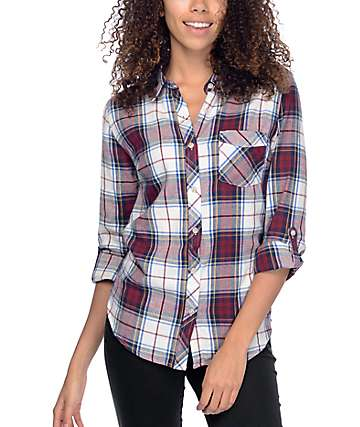 Thread & Supply Grant Burgundy & White Plaid Shirt