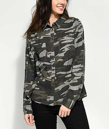 Thread & Supply Green Camo Button Up Shirt