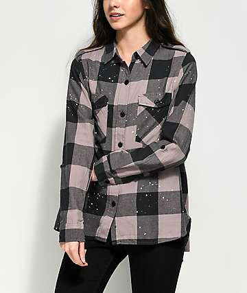 Thread & Supply Lavender & Paint Splatter Plaid Button Up Shirt