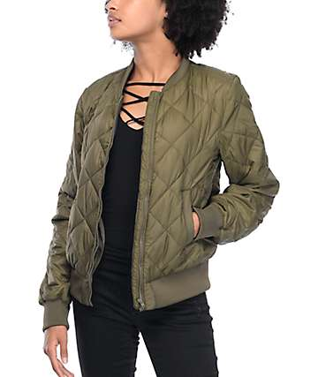 Thread & Supply Olive Quilted Packable Bomber Jacket