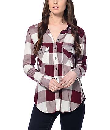 Thread & Supply Owen Burgundy & Cream Oversized Plaid Shirt