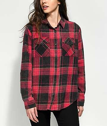 Thread & Supply Red & Black Acid Wash Flannel Button Up Shirt