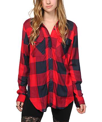 Thread & Supply Red & Navy Boyfriend Fit Plaid Shirt