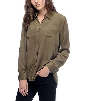 Thread & Supply Riley Olive Corduroy Button Up Shirt